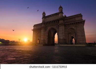 Gateway of India monument in Mumbai, India, at sunrise, tourism destination