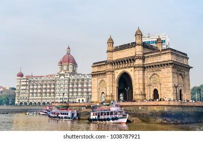The Gateway of India and Taj Mahal Palace as seen from the Arabian Sea. Mumbai - Maharashtra, India