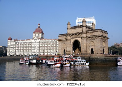 The Gateway of India and Tajmahal Hotel as seen from the Mumbai Harbour, India