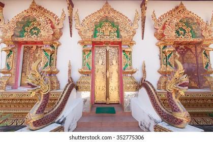 Gateway into the Buddhist church,Wat in Thailand