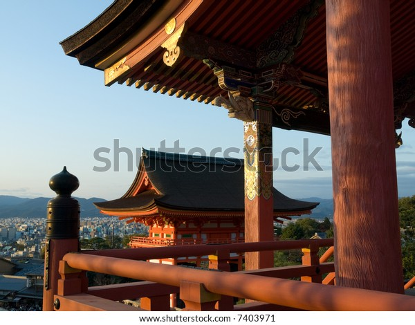 Gateway of Kiyomizu Temple in Kyoto Japan, with the city of Kyoto in the background. Kiyomizu-dera is one of the most famous and most visited temples in Kyoto.