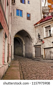 A gateway leads through a medieval tower in the old town of Tallinn, the capital of Estonia. The place is full of medieval architecture like this.