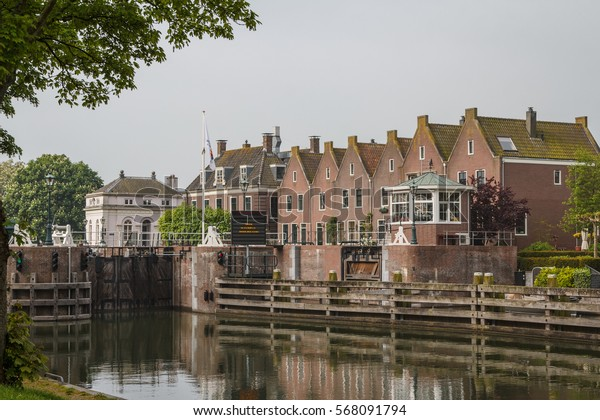 Gateway on the canal in Muiden, Netherlands