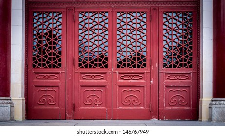Gateway with red Chinese doors & Red Chinese Door Images Stock Photos \u0026 Vectors | Shutterstock