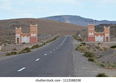 Gateway to the region on a road from Zagora, Morocco