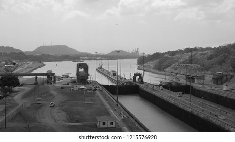 Gateways of the Panama Canal. Famous shipping canal connecting the Gulf of Panama Pacific Ocean with the Caribbean Sea and the Atlantic Ocean. Panama City. Panama.