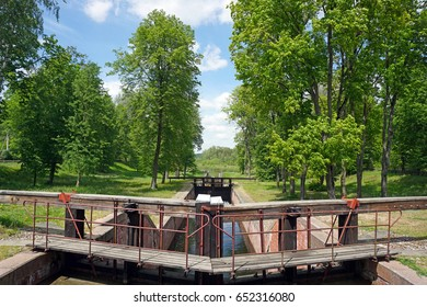 Gateways sluice (locks) on the Augustow Canal, Poland, Belarus. It is under the protection of UNESCO