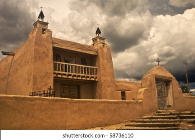Gathering storm over San Jose de Gracia church, a National Historic Landmark, in Las Trampas, a National Historic District, in New Mexico