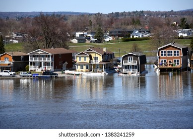 Gatineau, Canada - April 28, 2019:  The severe flooding on Rue Jaques-Cartier along the Quebec side of the swollen Ottawa River.  It is suspected the area will see flooding even worse than in 2017