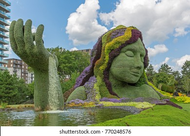 GATINEAU, CANADA – AUGUST 27, 2017: A sculpture of Mother Earth at the MOSAICANADA 150 exhibition celebrating the 150 anniversary of Canada.