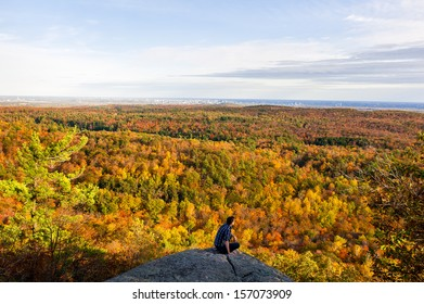 GATINEAU, CANADA, OCTOBER 05: an unidentified person looks at the gatineau park in autumn on october 05, 2013 in Gatineau.