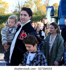 GATINEAU, QUEBEC, CANADA - OCTOBER 13, 2015: Liberal leader Justin Trudeau, wife Sophie Gregoire and sons Hadrien (L) and Xavier (R).