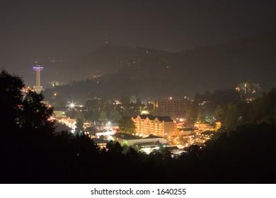 Gatlinburg City lights at night.
