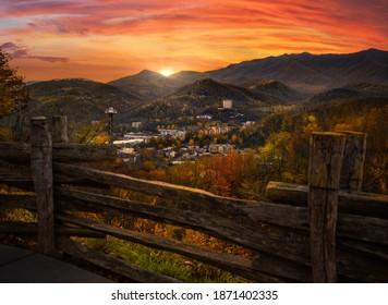 Gatlinburg overlook during brilliant sunset