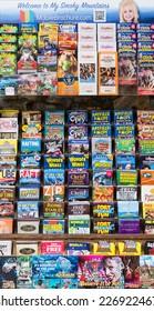 GATLINBURG, TENNESSEE - OCTOBER 20: Tourist brochures promote attractions on October 20, 2014 near Gatlinburg, Tennessee