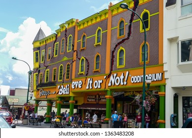 GATLINBURG, TENNESSEE, USA -AUGUST 8, 2016: The Ripley's Believe It Or Not Odditorium in Gatlinburg view from street.