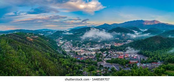 Gatlinburg, Tennessee, USA Downtown Skyline Aerial Panorama.