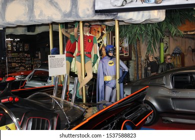 Gatlinburg, Tennessee / USA - September 3 2019: Costumes of Batman and Robin Seen in 1960's Television (TV) Series