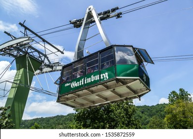 GATLINBURG, TENNESSEE, USA-AUGUST 8, 2016: Aerial Tramway Ober Gatlinburg with tourist