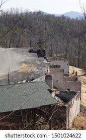 Gatlinburg, Tennessee-March 4,2017: Gatlinburg fires take over a lot of the residential areas in and around Gatlinburg, Tennessee.