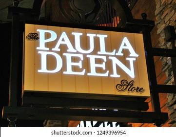Gatlinburg Tennessee/USA- September 2018- The Paula Deen Store sign.