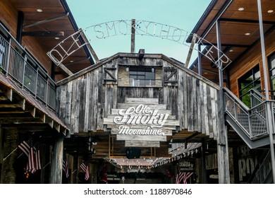 GATLINBURG-AUGUST 8:  Ole Smoky Moonshine tasting building in Gatlinburg, Tennessee, USA on August 8, 2016.