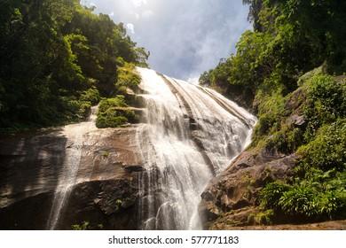 Gato waterfall in Ilhabela, Sao Paulo, Brazil