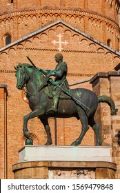 Gattamelata bronze equestrian statue in front of Basilica of Saint Anthony, in the historic center of Padua, erected by the famous renaissance artist Donatello in 1453