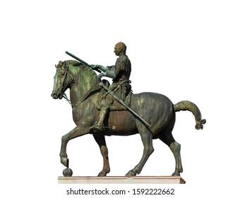 Gattamelata bronze equestrian statue, in the historic center of Padua, erected by the famous renaissance artist Donatello in 1453 (isolated on white background)