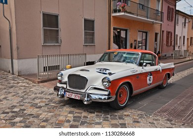 Gatteo, FC, Italy - May 19, 2017: driver and co-driver on a vintage american car Studebaker Golden Hawk (1956) in classic car race Mille Miglia