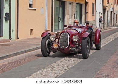Gatteo, FC, Italy - May 19, 2017: vintage racing car Alfa Romeo 8C 2900 A Botticella (1936), that ran managed by Scuderia Ferrari, in historical classic race Mille Miglia