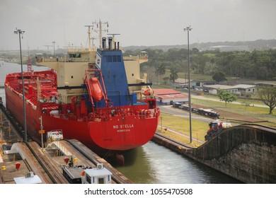 Gatun, Panama- April 7 2017: Crude oil tanker transiting through the Panama Canal at the Gatun Locks.