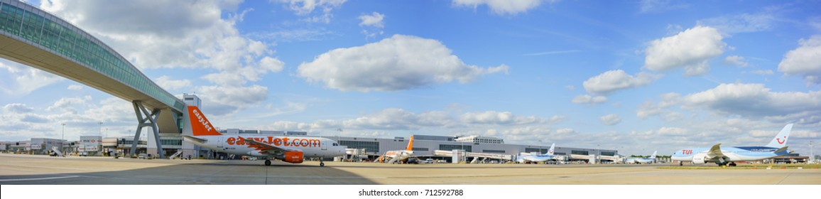 Gatwick, JUL 14: The northern terminal of Gatwick airport on JUL 14, 2017 at Gatwick, United Kingdom