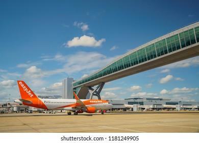 Gatwick, JUL 21: The beautiful Gatwick airport with airplane on JUL 21, 2017 at Gatwick, United Kingdom