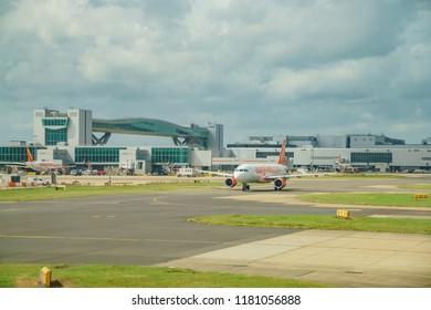 Gatwick, JUL 27: The beautiful Gatwick airport with airplane on JUL 27, 2017 at Gatwick, United Kingdom