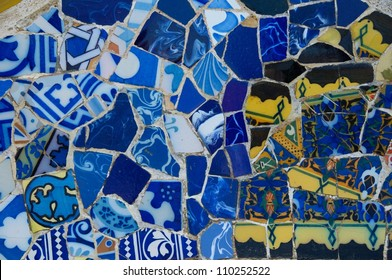 Gaudi's mosaic work in Park Guell