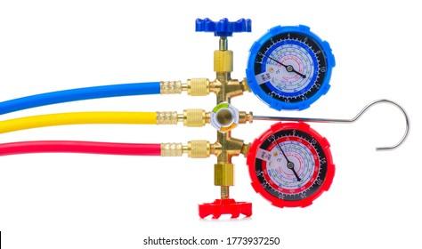 Gauge station, pressure gauge, manometer on white background isolation