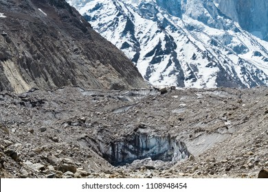 The Gaumukh glacier - source of the Ganges river in Uttarakhand India.