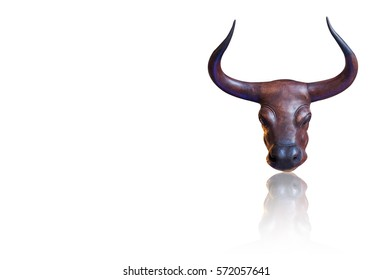 Gaur head statue from wood, home decoration.