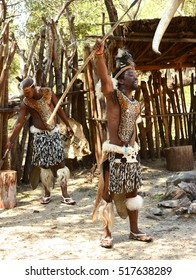 Gauteng, Lesedi Cultural Village. South Africa - 12 March, 2016. Zulu Warriors showing fighting technique. The Zulu tribe were known for fierce fighting skills.