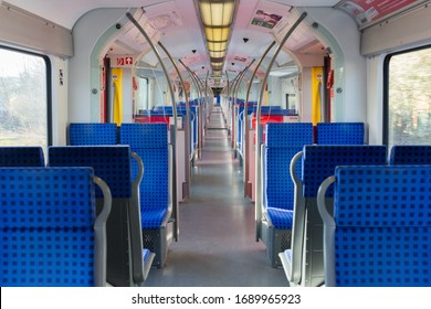 Gauting, Bavaria / Germany - Mar 27, 2020: Interior view of an empty S-Bahn (public transport train). The number of people which use public transport significantly decreased due to the Coronavirus.