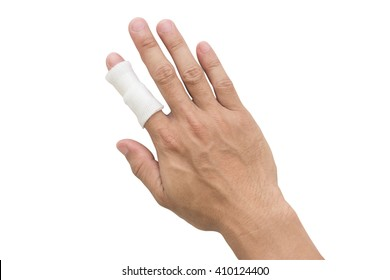 gauze bandage cover Injured hand on white background with clipping path