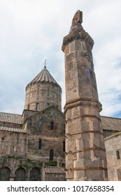 Gavazan, Tatev Pillar is an Octagonal stone column. It is mounted on the hinge and is able to swing. It is called a swinging pillar or a live staff (gavazan). Monastery Tatev. Armenia.