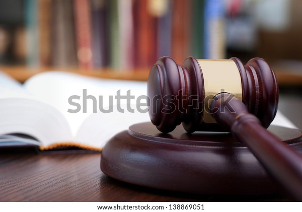 gavel and books on the table