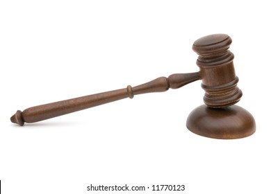 gavel close up on white background for legal concept
