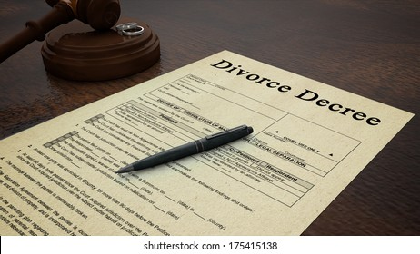Gavel Divorce Paper Decree Right. Side low shot of a divorce decree paper with a pen, gavel and rings in the scene