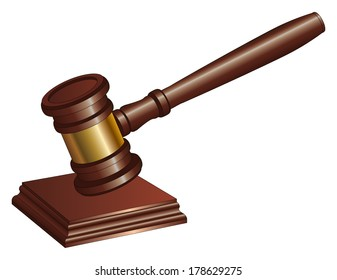Gavel is an illustration of a gavel used by court judges and other symbols of authority. A gavel is used to call for attention or to punctuate rulings and proclamations.