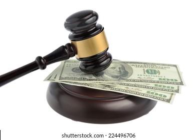 Gavel judge with money isolated on white background