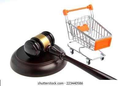 gavel of judge with pushcart isolated on white background