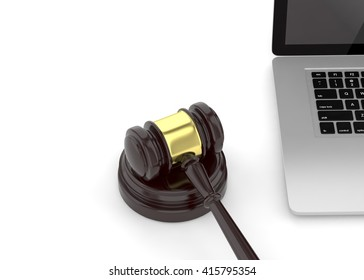 Gavel and laptop. 3d rendering.